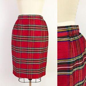 Vintage Plaid Silk Holiday Pencil Skirt Red 10